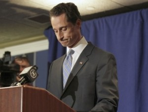 Congressman Anthony Weiner (D-NY), ran out of town because of scandalous twitter pictures.